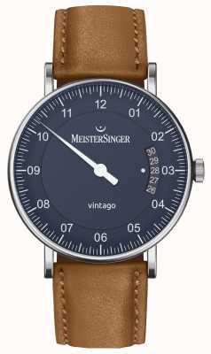 MeisterSinger El | vintago para hombre | automático | cuero marrón | esfera azul VT908