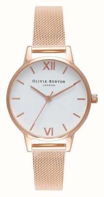 Olivia Burton | mujer | pulsera de malla de oro rosa | esfera blanca | OB16MDW01
