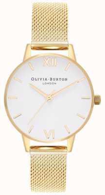 Olivia Burton El | mujeres | esfera blanca | pulsera de malla de oro | OB16MDW35