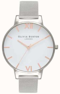 Olivia Burton | mujeres | esfera blanca | pulsera de malla de plata | OB16BD97