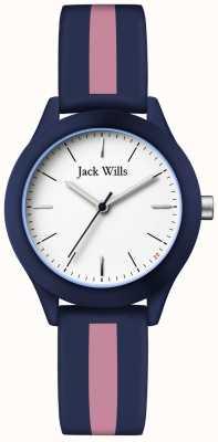 Jack Wills | unión de mujeres | esfera blanca | correa de silicona azul marino / rosa | JW008BLPST
