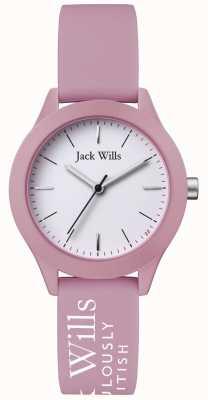 Jack Wills | unión de mujeres | esfera blanca | correa de silicona rosa | JW008PKWH
