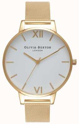 Olivia Burton El | mujeres | esfera blanca | pulsera de malla de oro | OB15BD84