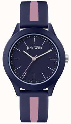 Jack Wills | unión de hombres | dial de la marina | correa de silicona rosa / azul marino | JW009BLPST