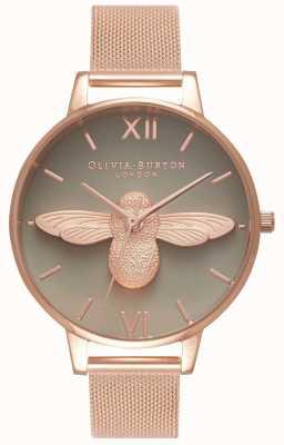 Olivia Burton El   mujeres   Abeja 3d   pulsera de malla de oro rosa   esfera gris   OB16AM117