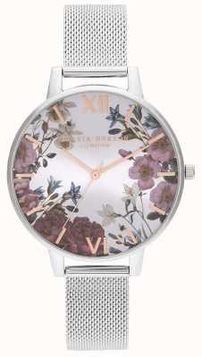 Olivia Burton | mujeres | flores británicas | pulsera de malla de acero inoxidable | OB16EG133