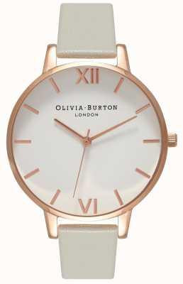 Olivia Burton El | mujeres | esfera blanca | correa de cuero gris | OB15BDW02