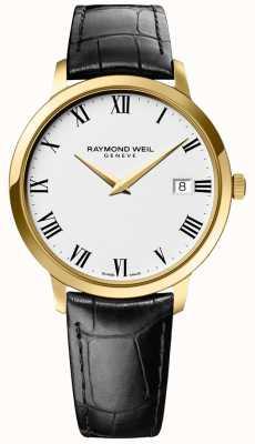 Raymond Weil | tocata para hombre | caja de oro | correa de cuero negro | 5588-PC-00300