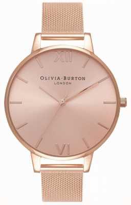Olivia Burton | mujer | gran esfera de rayos de sol | pulsera de malla de oro rosa | OB16BD102