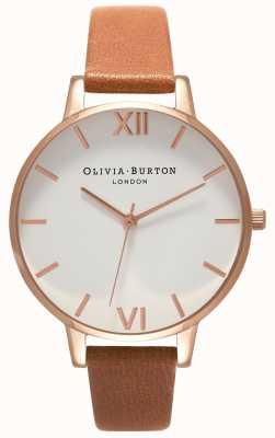 Olivia Burton | mujer | gran esfera blanca | correa de cuero color canela | OB16BDW19
