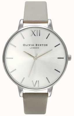 Olivia Burton | mujer | esfera plateada | correa de cuero gris | OB15BD57