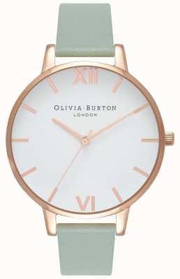 Olivia Burton | mujer | gran esfera blanca | correa de cuero menta | OB16BDW27