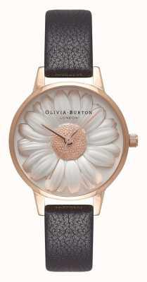 Olivia Burton | mujer | Esfera margarita 3d | correa de cuero negro | OB16FS97