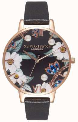Olivia Burton   mujer   florales enjoyados   correa de cuero negro   OB16BF04