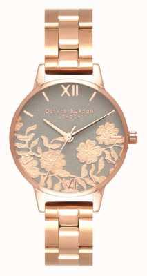 Olivia Burton | mujer | encaje detalle dial | pulsera de oro rosa | OB16MV88
