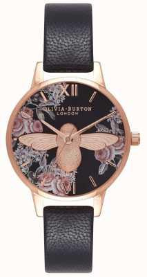 Olivia Burton | mujer | abeja botánica 3d | correa de cuero negro | OB16AM100