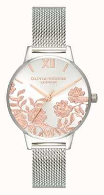 Olivia Burton El | mujeres | detalle de encaje | pulsera de malla de acero inoxidable | OB16MV90