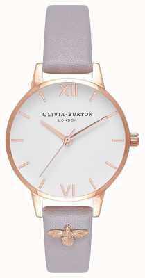 Olivia Burton | mujer | Abeja 3d | correa de cuero lila gris adornada | OB16ES11