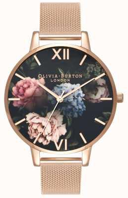 Olivia Burton | mujer | esfera del ramo oscuro | pulsera de malla de oro rosa | OB16WG52