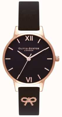 Olivia Burton El | mujeres | esfera negra | correa vintage con lazo negro | OB16VB07