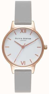 Olivia Burton | mujer | esfera blanca | correa de cuero gris | OB16MDW05