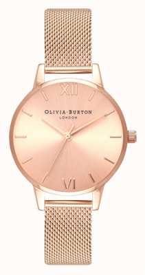 Olivia Burton | mujer | midi | esfera de rayos de sol | pulsera de malla de oro rosa | OB16MD84