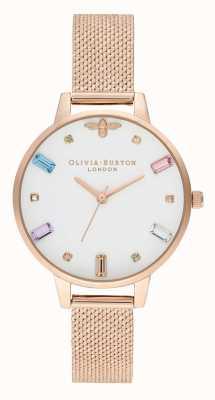 Olivia Burton El | mujeres | abeja arcoiris | pulsera de malla de oro rosa boucle | OB16RB15