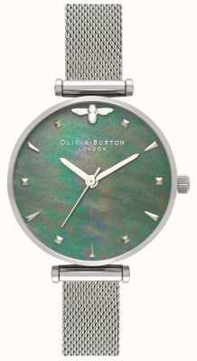 Olivia Burton El | mujeres | abeja reina | perla | pulsera de malla de acero | OB16AM151