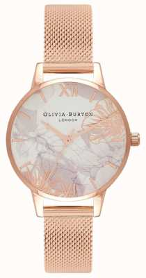Olivia Burton | mujer | florales abstractos | pulsera de malla de oro rosa | OB16VM11