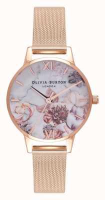 Olivia Burton | mujer | florales de mármol | pulsera de malla de oro rosa | OB16CS06