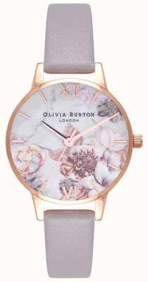 Olivia Burton | mujer | florales de mármol | correa de cuero lila gris | OB16CS14
