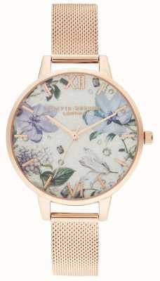 Olivia Burton | mujeres | florales enjoyados | pulsera de malla de oro rosa | OB16BF27