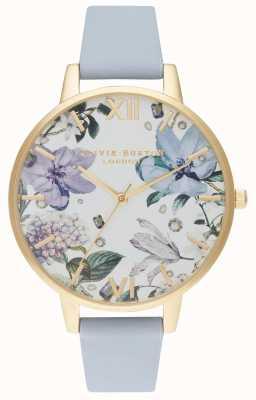 Olivia Burton | mujer | florales enjoyados | correa de cuero azul tiza | OB16BF21