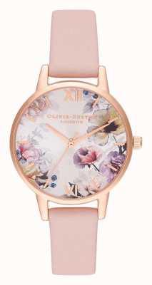 Olivia Burton | mujer | luz del sol florales | correa de cuero rosa polvo | OB16EG115