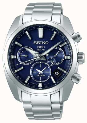 Seiko Astron solar gps pulsera de acero inoxidable con esfera azul para hombre SSH019J1