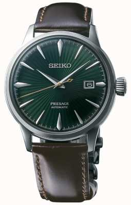 Seiko Presagiar la correa de cuero marrón 'hora de cóctel' esfera verde automática SRPD37J1