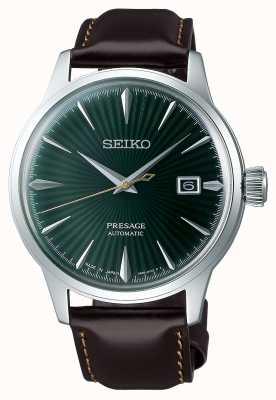 Seiko Presage automático esfera verde 'cocktail time' correa de piel marrón SRPD37J1