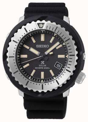 Seiko Prospex solar hombre negro dial buzo 200 m correa negra silv SNE541P1