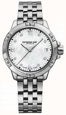 Raymond Weil | tango femenino | esfera engastada con diamantes | pulsera de acero inoxidable 5960-ST-00995