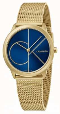 Calvin Klein Mínimo | pulsera de malla de oro | esfera azul | K3M5255N