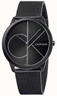 Calvin Klein Mínimo | pulsera de malla negra | esfera negra | K3M5T451