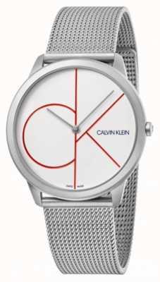 Calvin Klein Mínimo | pulsera de malla de plata | esfera blanca | K3M51152