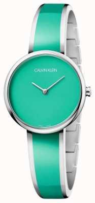 Calvin Klein   seducir para mujer   Pulsera de resina verde acero inoxidable   K4E2N11L