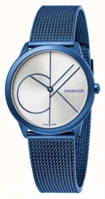 Calvin Klein Mínimo | pulsera de malla azul | esfera plateada | K3M52T56