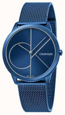 Calvin Klein Mínimo | pulsera de malla azul | esfera azul | K3M51T5N