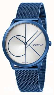 Calvin Klein Mínimo | pulsera de malla azul | esfera plateada | K3M51T56