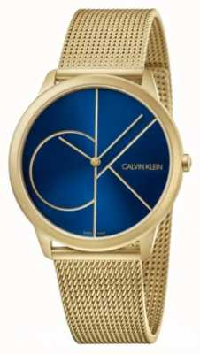 Calvin Klein Mínimo | pulsera de malla de oro | esfera azul | K3M5155N