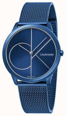 Calvin Klein | mujer | mínimo | correa de malla azul | esfera azul | K3M52T5N