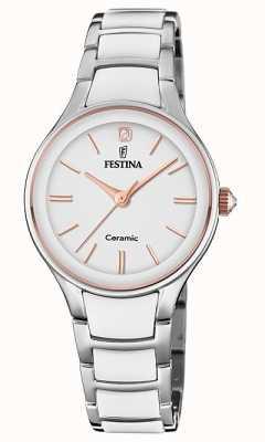 Festina El | cerámica para mujer | pulsera de plata / blanco | oro rosa / blanco F20474/2