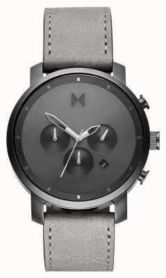 MVMT Chrono 45mm monocromo | correa de cuero gris | esfera gris D-MC01-BBLGR